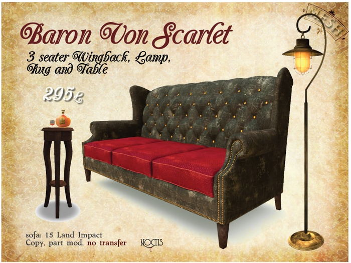 [noctis] Baron Von Scarlet Sofa and table BOXED