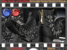 FULL - ZED MESH MATERIALS ENABLED: Black Leather Bikers Boots with Buckles - Removable Resizer with Remote