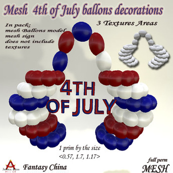 Fantasy China 4TH of July  Mesh Balloons Decorations full perm