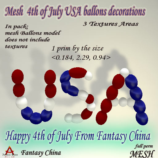 Fantasy China Mesh 4th of July USA  ballons decorations 1$bee  full perm