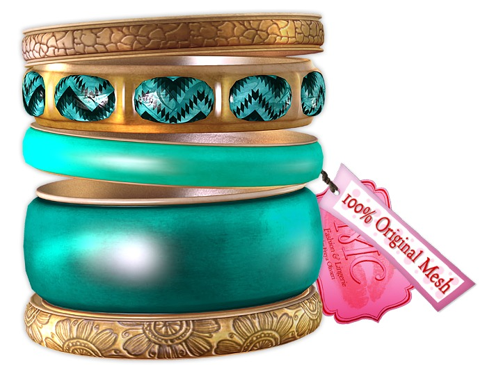 *MC* Alma Bangle Set Turquoise.Gold