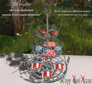 Aphrodite 4th july party * Sweets 3 tier stand with cookies and candy