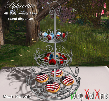 Aphrodite 4th july party * Sweets 3 tier platter with cookies and tartelettes