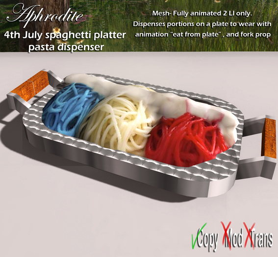 Aphrodite 4th july party - Patriotic spaghetti with USA flag colors!