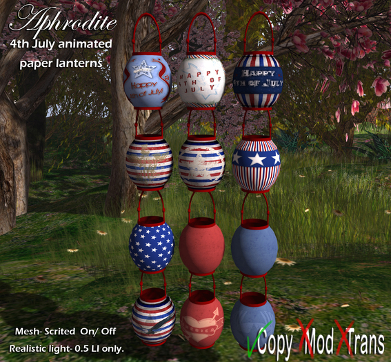 Aphrodite 4th july party lanterns- Independence day paper lamps for outdoors