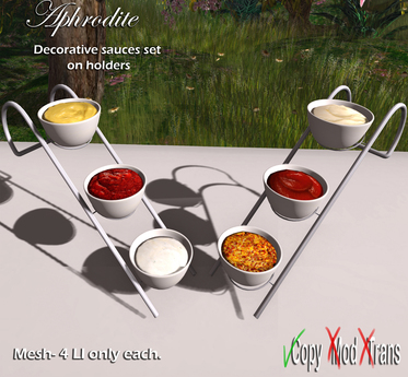 Aphrodite bbq set decorations: Condiments and sauces on holders
