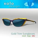 XOLO sunglasses gold trim