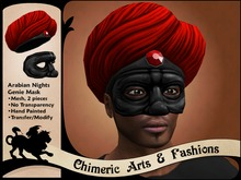 Arabian Nights Genie Mask & Turban (Red & Pewter)