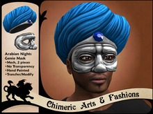 Arabian Nights Genie Mask & Turban (Blue & Silver)