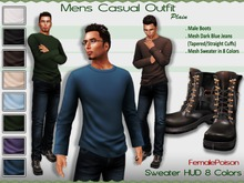 !FP! Men's Casual Complete Outfit - Plain Sweater 8 Colors - Male Boots Sweater DarkBlue Jeans Tapered and Straight