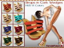 !FP! Straps in Cork Wedges - High Heels - HUD 8 Summer Colors - Slink MID Feet and a Mesh Foot optional