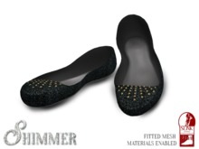 [Shimmer] Studded Black Canvas Flats