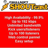 Shoutcast Stream Server 25 listeners 30 days