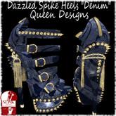 """Dazzled Spike Heels """"Denim"""""""