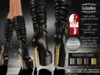 MESH Angelina Patent Black Slink Boots High Feet +Hud Driven (FEET NOT INCLUDED)