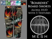 *ED HUD Mens Mesh Boardies Aloha Board Shorts with Texture Change