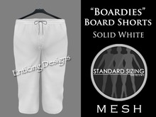 *ED Mens Mesh Boardies Solid Board Shorts White