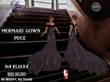 LC DESIGNS - MERMAID GOWN W/HIGH SLINK SHOES - PUCE