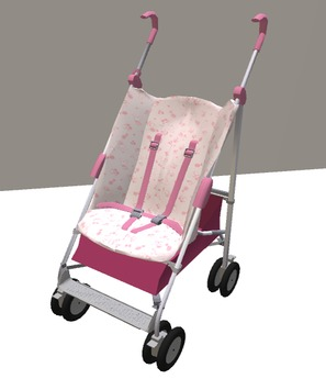 Baby Girl Stroller Pram with sit animation only
