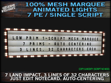 Low Prim Single Script Mesh Marquee