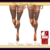 The Seventh Exile: Banded Fishnet Socks: Orange Fall Physique Applier ONLY!