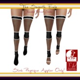 The Seventh Exile: Banded Fishnet Socks: Black v2 Physique Applier ONLY!