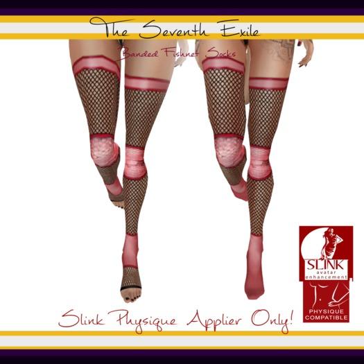 The Seventh Exile: Banded Fishnet Socks: Pink Break Physique Applier ONLY!
