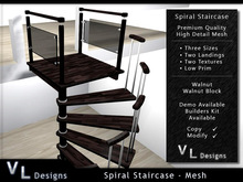 Mesh Spiral Staircase - Walnut Stairs