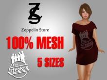 - Strokes - Mesh Off Shoulder Long T-shirt - Zeppelin Store