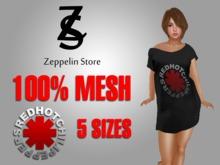 - Red Hot - Mesh Off Shoulder Long T-shirt - Zeppelin Store