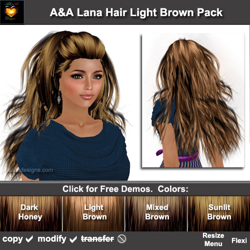 ** July Sale ** A&A Lana Hair Light Brown Pack (4 Colors Pack). Long wavy 70s hairstyle